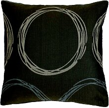 APELT Kissenhülle Plexi Farbe 10, moderner und trendiger Kissenbezug, hochwertige und schicke Zierkissenhülle mit eingewebten Kreisen, aufwendige Jacquard Webung in Braun-Blau-Beige, Größe 49x49 cm