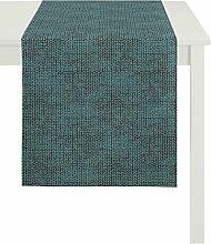 Apelt Läufer, Polyester, Türkis, 48 x 140 x 0.2 cm