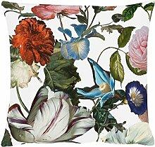 Apelt Merian Kissenhülle mit floralem Blütendruck, 40x40 cm, Farbe 30 weiß, rosa, blau
