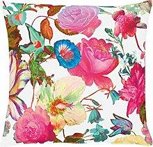 Apelt Merian Kissenhülle mit floralem Blütendruck, 49x49 cm, Farbe 31 weiß, pink, blau