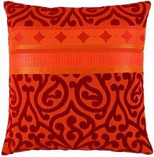APELT Prato_49x49_30 Kissenhülle Jaquardgewebe mit Ornamente, rot/orange