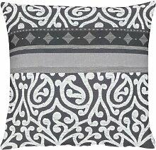 APELT Prato_49x49_89 Kissenhülle Jaquardgewebe mit Ornamente, anthrazit/weiß/grau