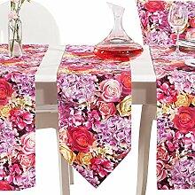 Apelt Tischband mit Druckmotiv Blumen dunkelrosa Größe 25x175 cm
