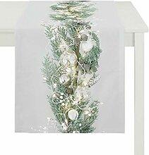 Apelt Tischläufer silber-grün Größe 40x140 cm