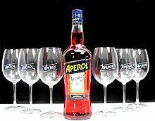 APEROL Set: Flasche 1,0l + 6x Weinglas Cocktailglas Longdrinkglas ~mn 27 7k1m+