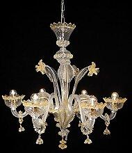 Apollo Kronleuchter aus Murano-Glas 6-armig golden