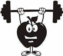 Apple Hantel Wandaufkleber Cartoon Gym