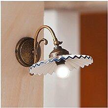 Applique Wandleuchte in Messing und Keramik Lampenschirm plissiert Stil Vintage–Ø 21cm ro