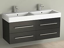 Aqua Bagno Badmöbel 120 cm inkl. Keramik Doppelwaschtisch / Badezimmer Möbel inkl. Waschbecken Unterschrank schwarz lackier