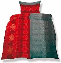 aqua-textil 0500034 Living 2-tlg. Bettwäsche 4-Jahreszeiten 135 x 200 cm Mikrofaser Bettbezug OEKO-TEX 2 teilig Miami rot grau Kreismuster