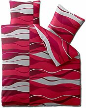 aqua-textil 3-tlg. Bettwäsche 200x220 Mikrofaser, Concept Ambra 0011078 Wellen rot grau