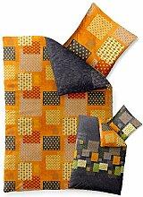 aqua-textil Bettwäsche 135x200 Baumwolle, Trend Adia Karo-Muster grau orange grün Wendedesign 0011787
