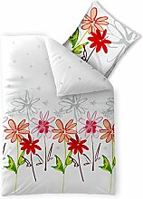 aqua-textil Bettwäsche 135x200 Baumwolle, Trend Ayana Blumen weiß grau rot 0011710