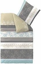 aqua-textil Bettwäsche 155x220 Baumwolle, Trend Vanesa Blumen Streifen beige grau anthrazit 0011794