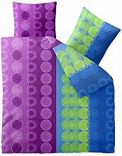 aqua-textil Bettwäsche 200x200 Baumwolle, Trend Dina Streifen Kreise blau lila grün 0011738