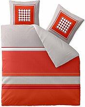 aqua-textil Bettwäsche 200x200 Baumwolle, Trend Tabita Streifen Punkte grau rot orange 0011814