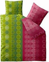 aqua-textil Bettwäsche 200x220 Baumwolle, Trend Dafina Streifen Kreise grün pink 0011749