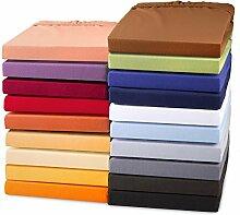aqua-textil Doppelpack Exclusives Jersey Stretch Qualitäts Spannbettlaken 90x200-100x220 für Boxspringbetten, Wasserbetten und herkömmliche Matratzen, Baumwolle Elasthan Spannbetttuch, 2000240 orange
