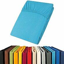aqua-textil Jersey Spannbettlaken 140x200-160x200 Viana Spannbetttuch 100% Baumwolle Bettlaken 0011873 blau