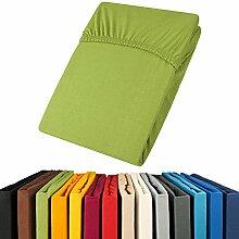 aqua-textil Jersey Spannbettlaken 180x200-200x200 Viana Spannbetttuch 100% Baumwolle Bettlaken 0011886 Grün