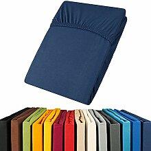 aqua-textil Jersey Spannbettlaken 90x200-100x200 Viana Spannbetttuch 100% Baumwolle Bettlaken 0011857 Dunkel Blau
