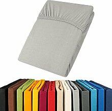 aqua-textil Jersey Spannbettlaken 90x200-100x200 Viana Spannbetttuch 100% Baumwolle Bettlaken 0011860 Grau