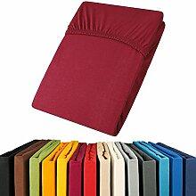 aqua-textil Jersey Spannbettlaken 90x200-100x200 Viana Spannbetttuch 100% Baumwolle Bettlaken 0011855 bordeaux ro
