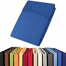 aqua-textil Jersey Spannbettlaken 90x200-100x200 Viana Spannbetttuch 100% Baumwolle Bettlaken 0011863 royal blau
