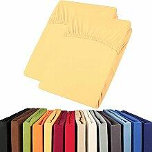 aqua-textil Jersey Spannbettlaken Doppelpack 90x200-100x200 Viana Spannbetttuch 100% Baumwolle Bettlaken 2000321 gelb