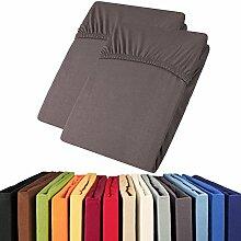 aqua-textil Jersey Spannbettlaken Doppelpack 90x200-100x200 Viana Spannbetttuch 100% Baumwolle Bettlaken 2000295 anthrazi