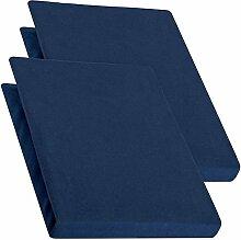 aqua-textil Pur 2er Set Spannbettlaken dunkel blau