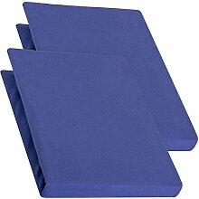 aqua-textil Pur 2er Set Spannbettlaken royal blau