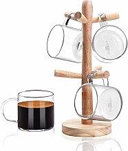Aquach 4er Set Kaffeebecher Glas Becher