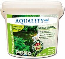 AQUALITY Fadenalgen-Minus 5.000 g für Ihren Gartenteich (GRATIS Lieferung innerhalb Deutschlands - Wirkt sofort, sicher, dauerhaft und gezielt gegen Fadenalgen. Zusätzlich wird die Wirkung mit Aktivsauerstoff unterstützt. Qualität direkt vom Hersteller – Fadenalgenmittel, Algenvernichter und Algenentferner für Ihren Teich)
