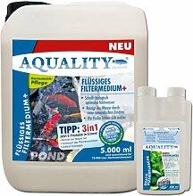 AQUALITY Flüssiges Filtermedium+ POND 5.000 ml (GRATIS Lieferung innerhalb Deutschlands - Schafft durch seine natürlichen Zusätze gesundes und kristallklares Gartenteichwasser und sorgt dafür, dass die Fische sich im Gartenteich wohl fühlen und sich vital verhalten)