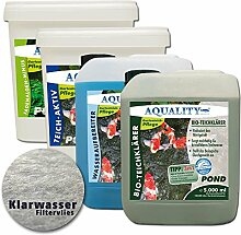 AQUALITY Komplett Teichpflege-Set XXL - Sparset für Ihren Gartenteich: Wasseraufbereiter, Teichklärer, Teich-Aktiv, Fadenalgenvernichter)