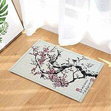 Aquarell-Blumen-Dekor-rote Pflaume und schwarze
