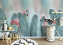 Aquarell Flamingo mit grünen Blättern Tapete
