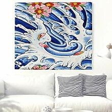 Aquarell Große Welle mit Sakura Wandteppich Blau