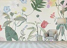 Aquarell Pflanze Blumen frische Tapete Vlies