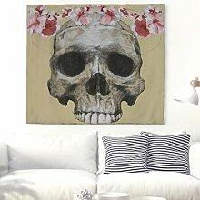 Aquarell Schädel Kopf mit Blumen Wandteppich