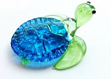 Aquarium-Kleinkunst-MUNDGEBLASENE?Glas?blau?Turtle?FIGURINE?Collection
