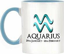 Aquarius Sternzeichen Design bicolor Becher mit Henkel Hellblau & Innen