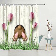aquxinlaowan Lustige Kaninchen und tulpe Vorhang