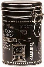 Arabica Kaffee–Runde Kaffee-Dose/Teedose/Blechdose/Vorratsdose für Küche–Deckel mit Bügelverschluss, schwarz