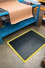 Arbeitsplatz-Bodenbelag Fertigmatte L900xB600xS14mm schwarz/gelb