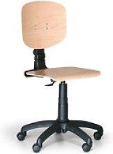 Arbeitsstuhl aus holz, kunststoffkreuz, rollen