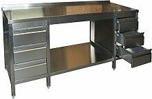 Arbeitstisch, 2300x600x850mm, voll aus Edelstahl