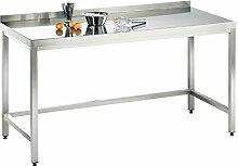 Arbeitstisch, 2400x800x850mm, voll aus Edelstahl
