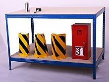 Arbeitstisch HxBxT: 100x150x100 cm, 2 Böden, 300 KG/Holzboden, blau (Packtisch, Verpackungstisch, Montagetisch, Werkbank)